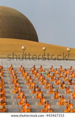 BANGKOK,THAILAND - FEBRUARY 22, 2016: Unidentified Thai monks during Buddhist ceremony Magha Puja Day in Wat Phra Dhammakaya - stock photo