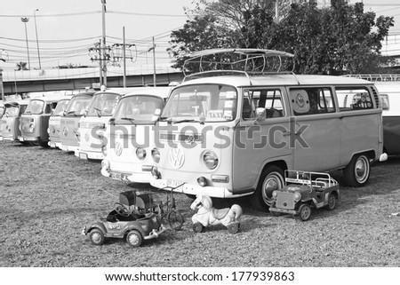 BANGKOK, THAILAND - FEBRUARY 15 : Volkswagen retro vintage car (black and white) display in Siam VW festival 2014 on February 15, 2014 in Bangkok Thailand. - stock photo