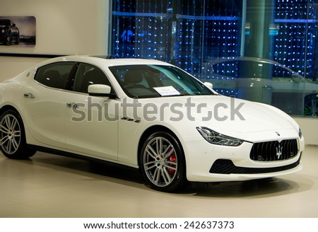 BANGKOK, THAILAND - JAN 08 2015 : Maserati on display at The showroom in Siam Paragon which is the biggest shopping mall in Thailand. - stock photo