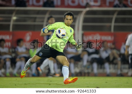 BANGKOK, THAILAND - JAN 11: Sivaruck Tedsungnoen(GK) of the Buriram PEA in action during theThaicom FA Cup Final match between MuangThong United at National Stadium on January 11, 2012 in Bangkok Thailand. - stock photo
