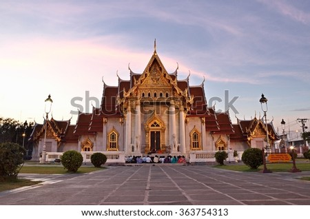 Bangkok,THAILAND - JAN 18: 2016. Sundown Time Wat Benchamabophit Dusitvanaram (The Marble Temple) is a Buddhist temple in the Dusit district of Bangkok, on JAN 18, 2016 in Bangkok, Thailand. - stock photo