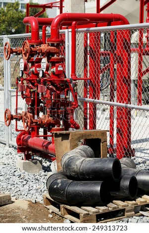 BANGKOK -THAILAND - JANUARY 16 : Construction of fire protection system for  of EGAT's Rangsit high voltage switchgear on Jan 16, 2015 in Rangsit district of Bangkok, Thailand. - stock photo
