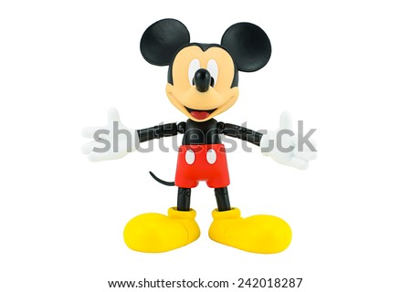 Bangkok,Thailand - January 5, 2015 : Mickey mouse toy action figure from Disney characters. This character from Mickey mouse and friend animation series. - stock photo