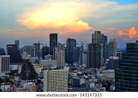 BANGKOK, THAILAND - JANUARY 21:View of Bangkok cityscape on January 21, 2013. Bangkok received World's Best City Award 2012 - stock photo