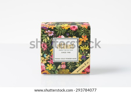 BANGKOK, THAILAND - JULY 06, 2015: Box of SRICHAND TANAKA GOLD POWDER MASK isolated on white background. Srichand is cosmetics brand from Thailand. - stock photo
