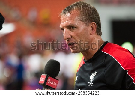 BANGKOK THAILAND JULY14:Brendan Rodgers of Liverpool interviewing during the international friendly match between Thai All Stars and Liverpool FC at Rajamangala Stadium on July14,2015 in,Thailand. - stock photo