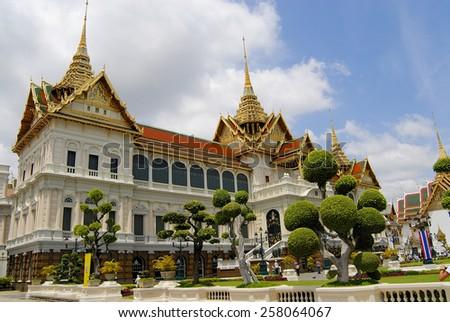 BANGKOK, THAILAND - JULY 08, 2007: Exterior of the  Wat Phra Kaew complex buildings on July 07, 2007 in Bangkok, Thailand.  - stock photo
