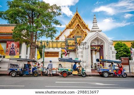BANGKOK - THAILAND, JULY 28 : Giant swing and around Suthat Temple, Landmarks of Bangkok on 28 July 2007, Bangkok, Thailand - stock photo