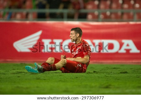 BANGKOK THAILAND JULY 14:James Milner  of Liverpool in action during the international friendly match Thai All Stars and Liverpool FC at Rajamangala Stadium on July14,2015 in,Thailand. - stock photo