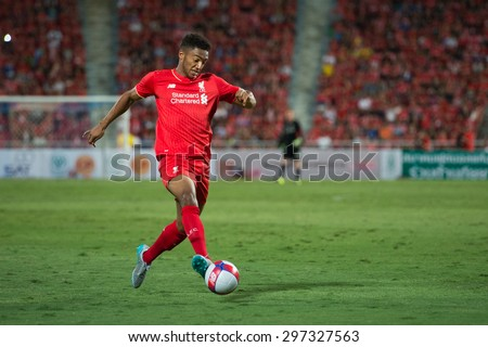 BANGKOK THAILAND JULY 14 :Joe Gomez of Liverpool in action during the international friendly match Thai All Stars and Liverpool FC at Rajamangala Stadium on July14,2015 in,Thailand. - stock photo
