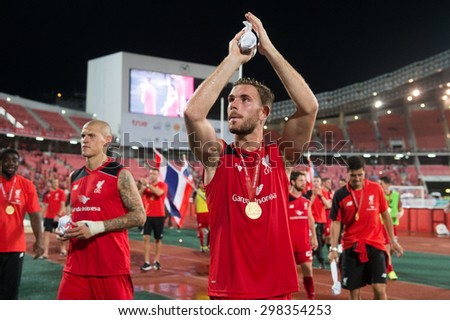 BANGKOK THAILAND JULY14:Jordan Henderson of Liverpool acknowledges the fans during the international friendly match  Thai All Stars and Liverpool FC at Rajamangala Stadium on July14,2015 in,Thailand. - stock photo
