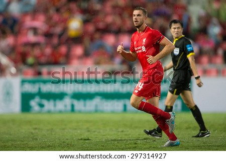 BANGKOK THAILAND JULY 14:Jordan Henderson of Liverpool in action during the international friendly match between Thai All Stars and Liverpool FC at Rajamangala Stadium on July14,2015 in,Thailand. - stock photo