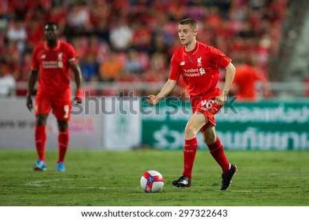 BANGKOK THAILAND JULY 14:Jordan Rossiter of Liverpool in action during the international friendly match Thai All Stars and Liverpool FC at Rajamangala Stadium on July14,2015 in,Thailand. - stock photo