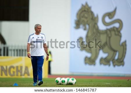 BANGKOK, THAILAND - JULY 16: Manager Jose Mourinho of Chelsea FC in action during a Chelsea FC training session at Rajamangala Stadium on July 16, 2013 in Bangkok, Thailand. - stock photo