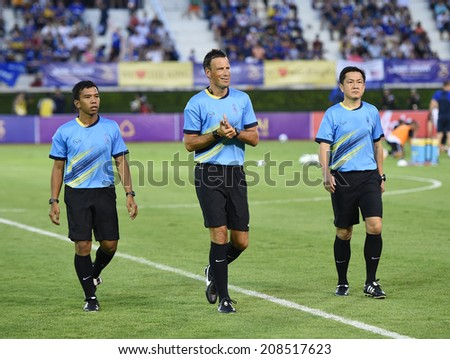 BANGKOK, THAILAND - JULY 27:Mark Clattenburg England professional football refere in action during friendly match Leicester VS Everton at Supachalasai Stadium on July 27, 2014 in Bangkok, Thailand. - stock photo