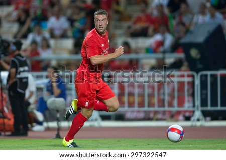 BANGKOK THAILAND JULY 14:Rickie Lambert of Liverpool in action during the international friendly match Thai All Stars and Liverpool FC at Rajamangala Stadium on July14,2015 in,Thailand. - stock photo