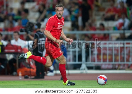 BANGKOK THAILAND JULY 14:Rickie Lambert of Liverpool run with the ball during the international friendly match Thai All Stars and Liverpool FC at Rajamangala Stadium on July14,2015 in,Thailand. - stock photo