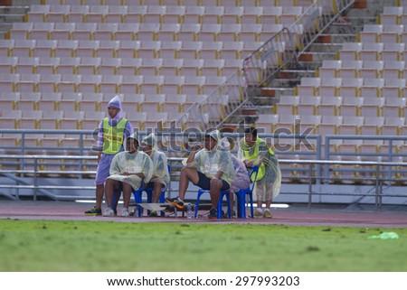 BANGKOK,THAILAND:JULY 2015:The fied cribs team poses during football Thai Premier League between Osotspa M150 and Chiang Rai United at Rajamangala National Stadium on July 19,2015inThailand. - stock photo