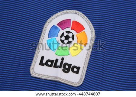 BANGKOK, THAILAND - JULY 07, 2016:  The Logo of New La Liga spain football on the jersey on July 07,2016 in Bangkok Thailand. - stock photo
