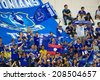 BANGKOK THAILAND JULY 27: Unidentified fan of  Thailand supporters during the pre-season match between Leicester City and Everton at Supachalasai Stadium on July 27, 2014 in Thailand.  - stock photo