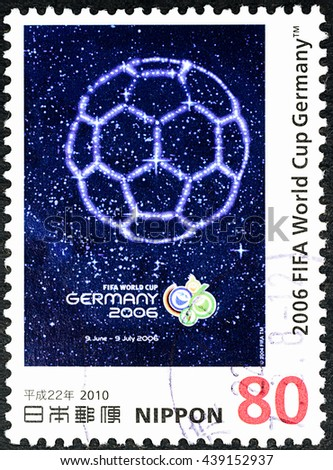 "BANGKOK, THAILAND - JUNE 18, 2016: A stamp printed in Japan shows world cup TM official poster Germany 2006, series ""Historical Poster JULES RIMET CUP"", circa 2010. - stock photo"