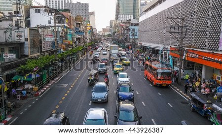 BANGKOK, THAILAND - JUNE 26, 2016: Commutors in Bangkok suffers from heavy traffic jams due to excess of cars on the road. - stock photo