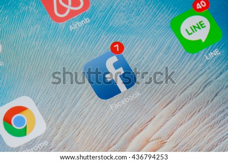 Bangkok,thailand - June 15, 2016:screen with social media applications of Facebook, Twitter, Skype, Linkedin, Whatsapp, foursquare and Messenger. - stock photo