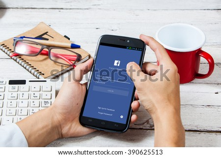 BANGKOK,THAILAND - March 14,2016: Facebook is an online social networking service founded in February 2004 by Mark Zuckerberg with his college roommates  - stock photo