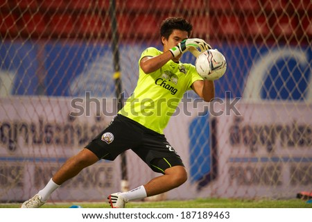 BANGKOK THAILAND-MARCH 09:Goalkeeper Wanlop Sae-Jiu of Insee Police United.in action during Thai Premier League Insee Police United.and Air Force F.C.at Thammasat Stadium on March 09, 2014,Thailand - stock photo