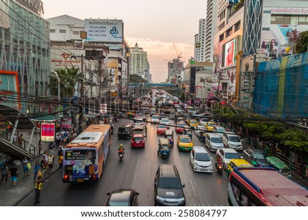 BANGKOK, THAILAND MARCH 4,2015:Heavy traffic during rush hour on a busy road on March 4, 2015 in Bangkok, Thailand. Bangkok is the most crowded city in Thailand. - stock photo
