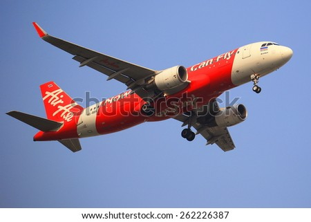 BANGKOK, THAILAND - March 19, 2015: HS-ABS Airbus A320-200 of Thaiairasia. landing toBangkok Donmueang airport from Chiangmai airport  - stock photo