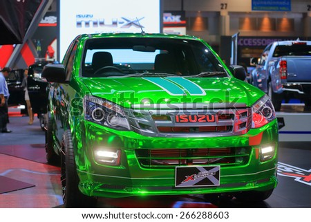 BANGKOK, THAILAND - MARCH 24 : Isuzu with special coat body surface displayed on stage at the 36th Bangkok International Motor show  in March 24, 2015. Bangkok, Thailand. - stock photo