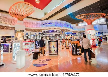 BANGKOK,THAILAND - MARCH 19,2016 : King power Duty free shop at Don Mueang Airport. Don Mueang International Airport is one of two international airports serving Bangkok, Thailand. - stock photo