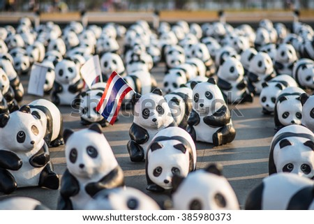 Bangkok, Thailand - March 4, 2016: 1600+ of paper sculpture pandas arrive in historical place of Bangkok. Exhibition by French artist Paulo Grangeon has been exhibited for wildlife conservation. - stock photo