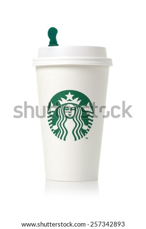 BANGKOK, THAILAND - MARCH 03, 2015: White coffee cup with Starbucks logo. Starbucks is the world's largest coffee house with over 20,000 stores in 61 countries. - stock photo