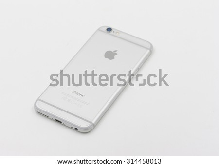 BANGKOK, THAILAND - MAY 7, 2015. Back of Apple Iphone 6 in white color laying on white background. - stock photo