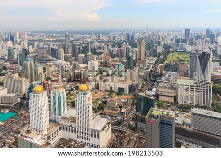 BANGKOK, THAILAND - May 04: Bangkok  view, Above view from Baiyoke Tower II tallest building in the city and tallest hotel in Southeast Asia on May 04, 2014 in Bangkok Thailand. - stock photo