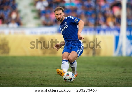 BANGKOK THAILAND MAY 30:Branislav Ivanovic no.2of Chelsea in action during the Singha Chelsea fc. Celebration match Thailand All-Stars and Chelsea FC at Rajamangala Stadium on May 30,2015 in Thailand. - stock photo