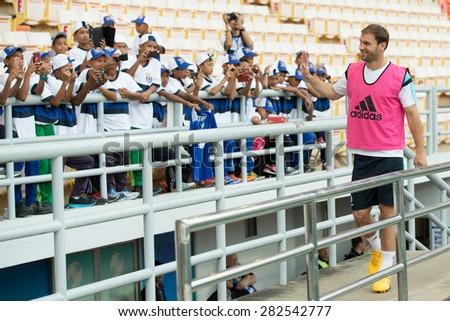 BANGKOK THAILAND MAY 29,Branislav Ivanovic of Chelsea FC  in action to fans during a Chelsea FC training session at  Rajamangala Stadium on May 29,2015 in Bangkok Thailand  - stock photo