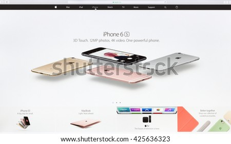 Bangkok, Thailand - May 24, 2016: Close up Apple Inc. website on imac retina screen showcasing iphone 6s technology device available for sell online - stock photo
