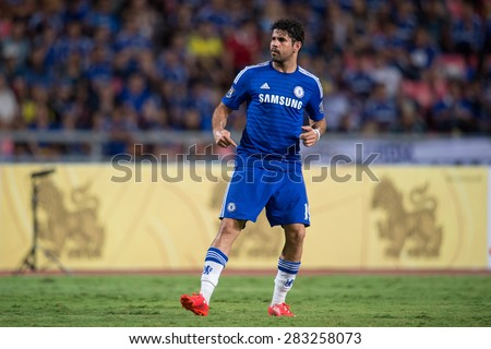 BANGKOK THAILAND MAY 30:Diego Costa of Chelsea in action during the Singha Chelsea fc. Celebration match Thailand All-Stars and Chelsea FC at Rajamangala Stadium on May 30,2015 in Thailand. - stock photo