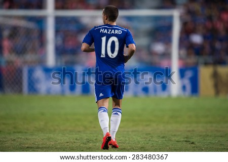 BANGKOK THAILAND MAY 30:Eden Hazard no.10 of Chelsea in action during the Singha Chelsea fc. Celebration match Thailand All-Stars and Chelsea FC at Rajamangala Stadium on May 30,2015 in Thailand. - stock photo