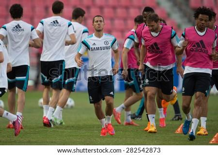 BANGKOK THAILAND MAY 29,Eden Hazard of Chelsea FC  in action during a Chelsea FC training session at  Rajamangala Stadium on May 29,2015 in Bangkok Thailand  - stock photo