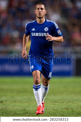 BANGKOK THAILAND MAY 30: Eden Hazard of Chelsea run during the Singha Chelsea fc. Celebration match Thailand All-Stars and Chelsea FC at Rajamangala Stadium on May 30,2015 in Thailand. - stock photo