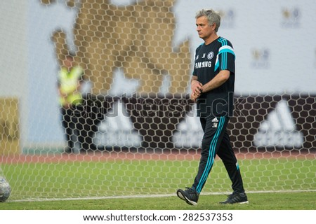 BANGKOK THAILAND MAY 29,Manager Jose Mourinho  of Chelsea FC  in action during a Chelsea FC training session at  Rajamangala Stadium on May 29,2015 in Bangkok Thailand  - stock photo