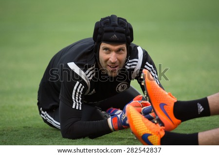 BANGKOK THAILAND MAY 29,Peter Cech of Chelsea FC  in action during a Chelsea FC training session at  Rajamangala Stadium on May 29,2015 in Bangkok Thailand  - stock photo
