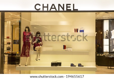 Bangkok, Thailand-May 12th 2014: The Chanel store in the Emporium  Mall. Chanel is one of many luxury brands to be found in this and other malls in Bangkok. - stock photo
