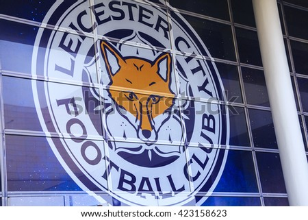 BANGKOK THAILAND-MAY 19, 2016 : the logo of Leicester City football club at King Power Complex, Thailand. - stock photo