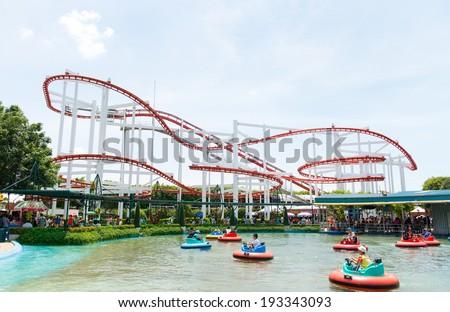 BANGKOK,THAILAND - MAY 11: The Roller Coaster Track at Dream World on May 11, 2014. in bangkok ,Thailand - stock photo