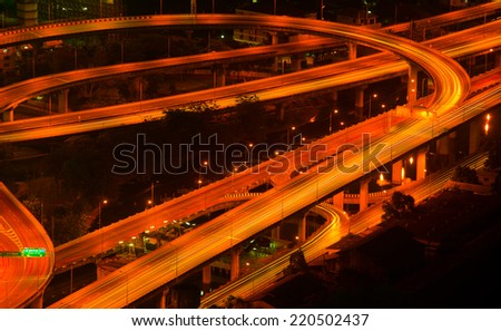 BANGKOK, THAILAND - MAY 12 : Traffic on Express Way of Bangkok at twilight time taken May 12, 2012 in Bangkok.  - stock photo